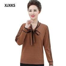 XJXKS moda ropa de la madre 2018 nuevas mujeres suéteres y suéteres bow  Marca Diseño mujer 473a13fffad29