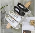 Primavera verão 2017 novas mulheres da moda sapatos casuais clássicos rosto couro mocassins de lona mulheres sapatos casuais
