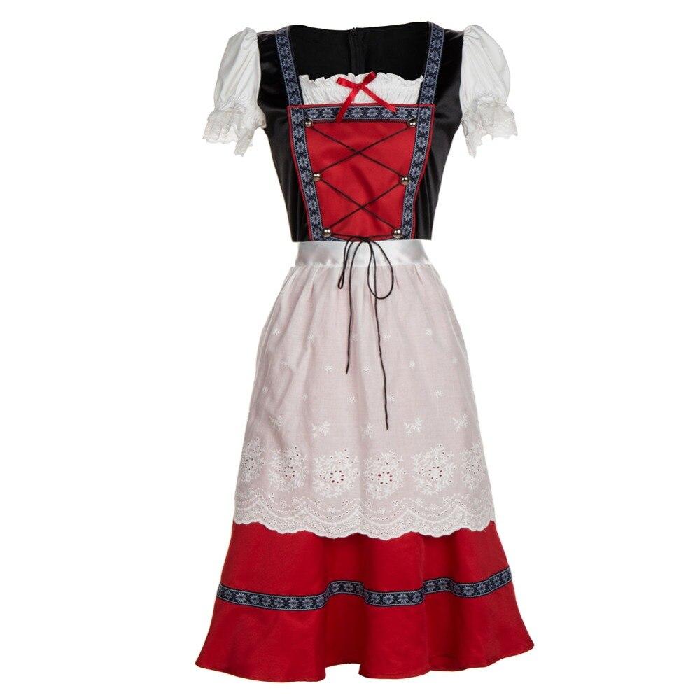 Adult Women Oktoberfest Clothing Red Maid Costume German Bavarian Fancy Dirndl Dress Slim Lacing Up Apron Dress For Ladies S-4XL