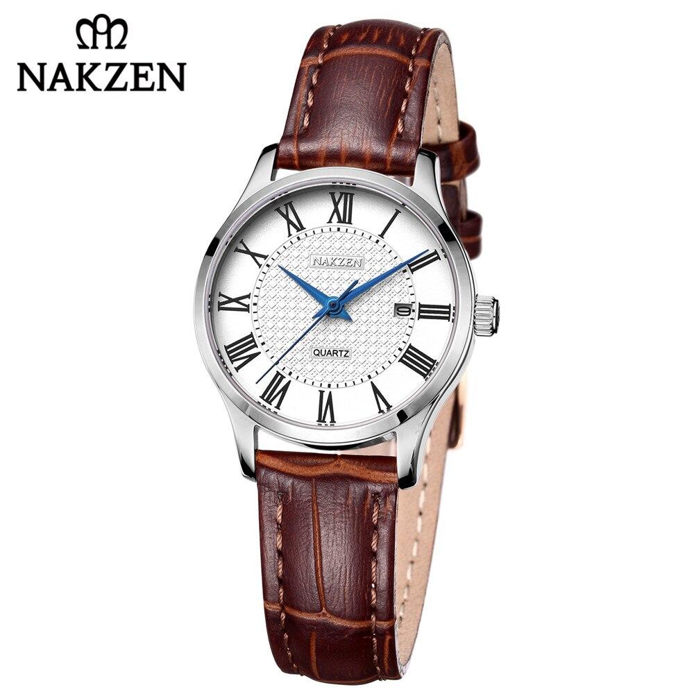 NAKZEN Women Watches 2018 Top Fashion Leather Casual Watch Woman Business Dress Quartz Clock Ladies Sport Waterproof Wristwatch цена 2017