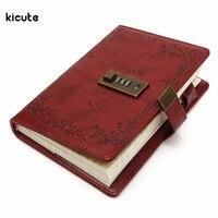 B6 Retro Czerwona Róża Skóra Przewodowy Notatnik Urzędowy Dziennik Puste Papieru Notebook Z Zamkiem Sketchbook Prezent Biuro Szkolne
