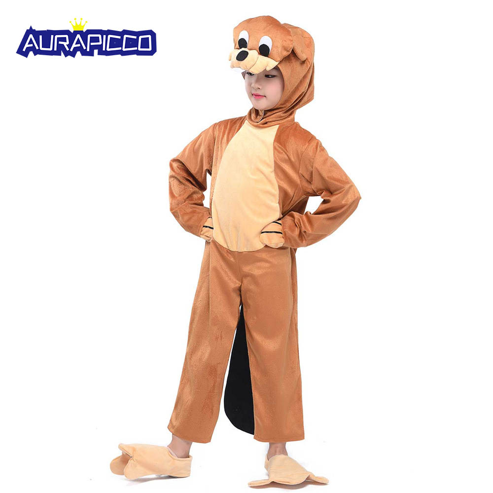 Child Beaver Cosplay Costume Kids Animal Costumes Fancy Dress Anime Onesie Jumpsuit with Headwear Flippers Children's Day Gift