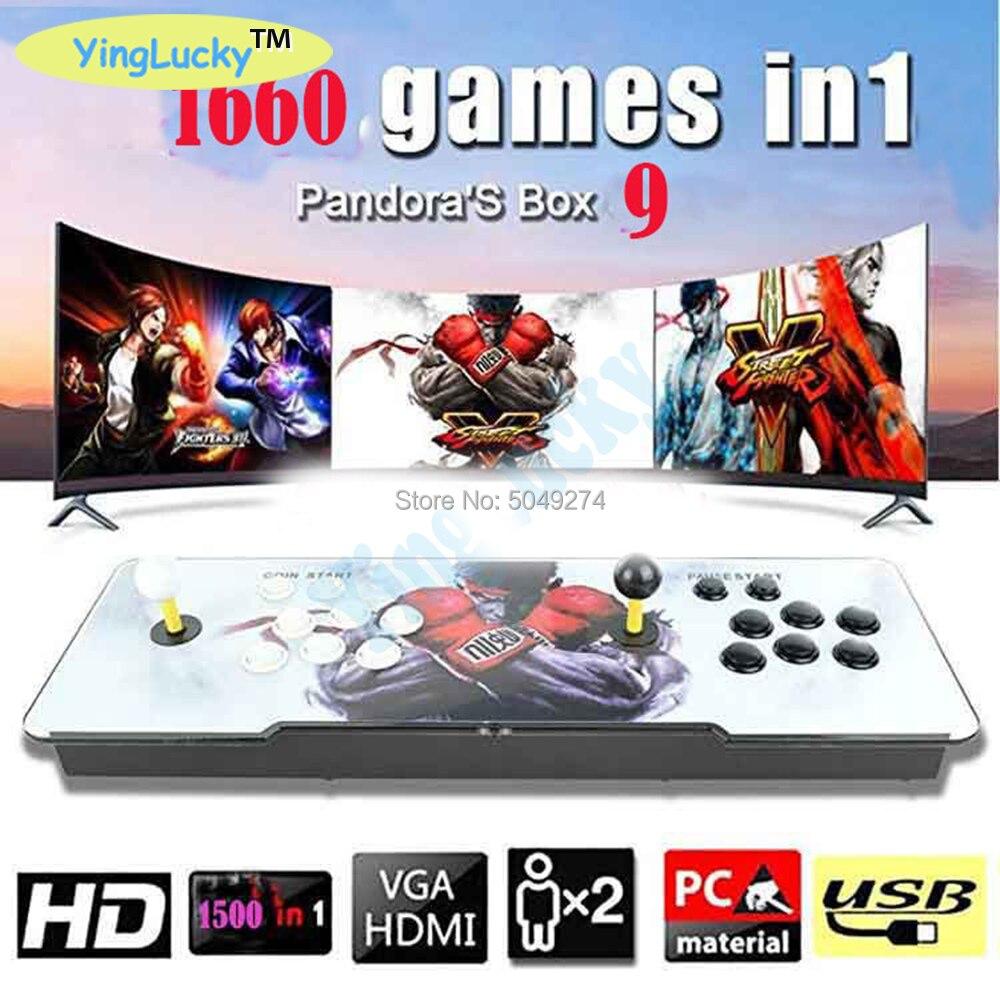 Nouveau Pandora Box 9 3D 1660 en 1 jeu d'arcade fer console 2 joueurs bâton contrôleur console HDMI VGA USB sortie PS3 TV PC 5 s 6 s 7