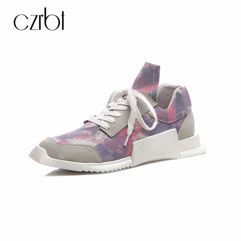 CZRBT Spring Summer 2018 Women Flats Shoes Low Heel 3.5cm Handmade Genuine Leather Casual Lace-Up Platform Special-Shaped Shoes designer women flats wine red retro genuine leather ladies low heel casual shoes lace up handmade women flats pointed toe 2017