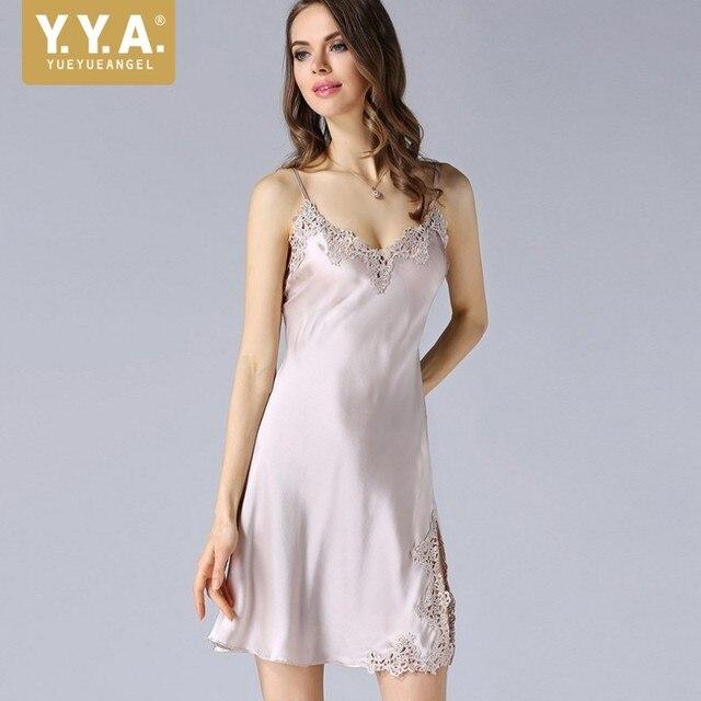 2d285b3d6f9859 Nowy włoski 100% Silk kobiety lato szelki koszula nocna piżamy haft koronki  sexy slim fit