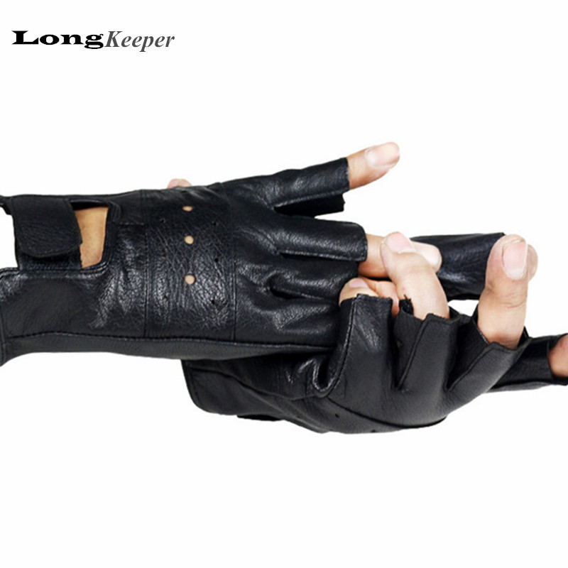 LongKeeper Genuine Leather Gloves For Men Half Finger Fingerless Gloves Sheeep Leather Black Cut Off Mittens A232
