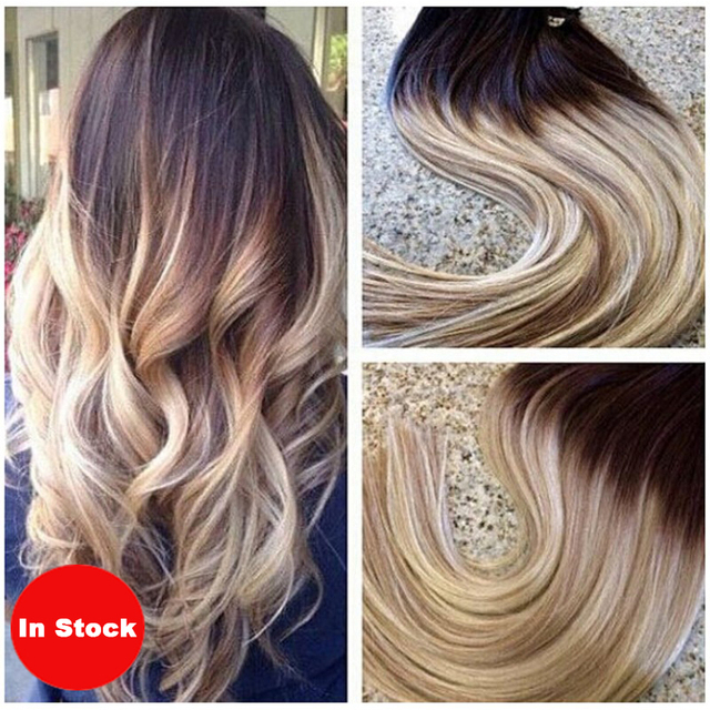 Clip In Human Hair Extensions 7cs140g Ombre Clip Ins T4613 Blonde