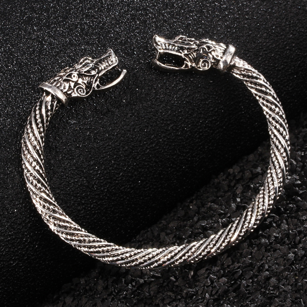 Teen Wolf Head Bracelet Indian Jewelry Fashion Accessories Viking Bracelet Men Wristband Cuff Bracelets For Women Bangles bracelet