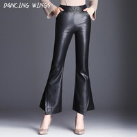Faux Pu Leather Pants Women Trousers Elastic High Waist Micro Bell Bottom Flare Pants Autumn Winter Split Capris Black