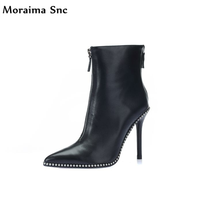 Moraima Snc fashion women pointed toe platform solid Concise type sexy catwalk high heel metal rivet handmade Ankle boots moraima snc chic women winter platform pointed toe mid calf boots solid black lace up fringe vintage suede high heel