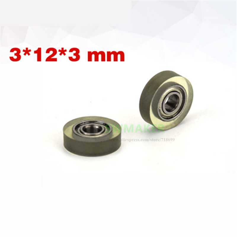 1pcs 3*10*3mm coated polyurethane PU wheel, mute and transparent, 683 bearing pulley, Printer and drawer roller wheel Pulleys  - AliExpress