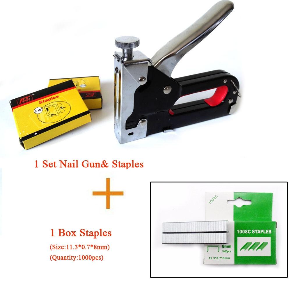 Aliexpress.com : Buy Multitool Nail Staple Gun Furniture Stapler For Wood  Door Framing Rivet Gun Kit (1 Set Nail Gunu0026 Staples+ 1 Box Extra Staples)  From ...