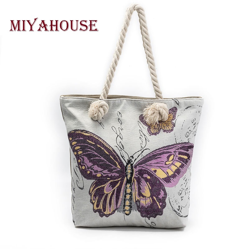 Miyahouse Butterfly Printed Casual Tote Shoulder Bag Women Canvas Ladies Beach Bag Large Capacity Women Shopping Bag miyahouse cute cat printed beach bag women large capacity shopping bags vintage female single shoulder bag canvas ladies handbag