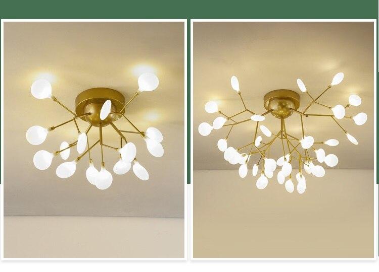 Ouro modernopreto led lustre de teto iluminação