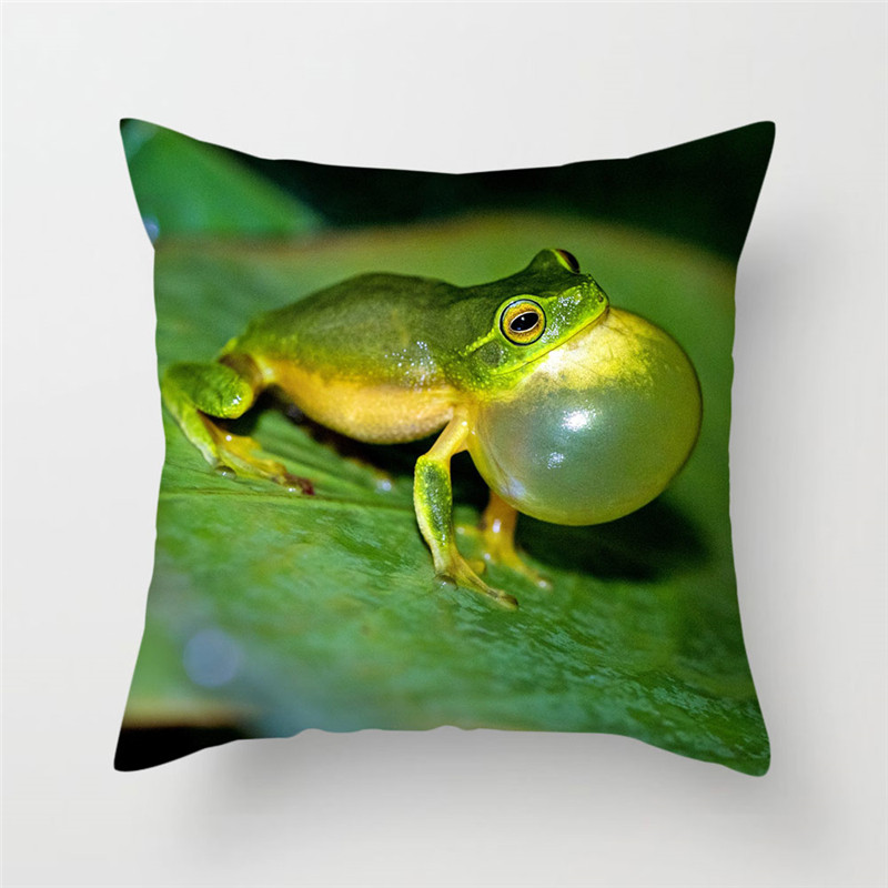 Fuwatacchi Animal Cushion Cover Frogs Lizard Chameleon Pillow Cover Cute Green Purple Decorative Pillowcase for Home Sofa Decor in Cushion Cover from Home Garden