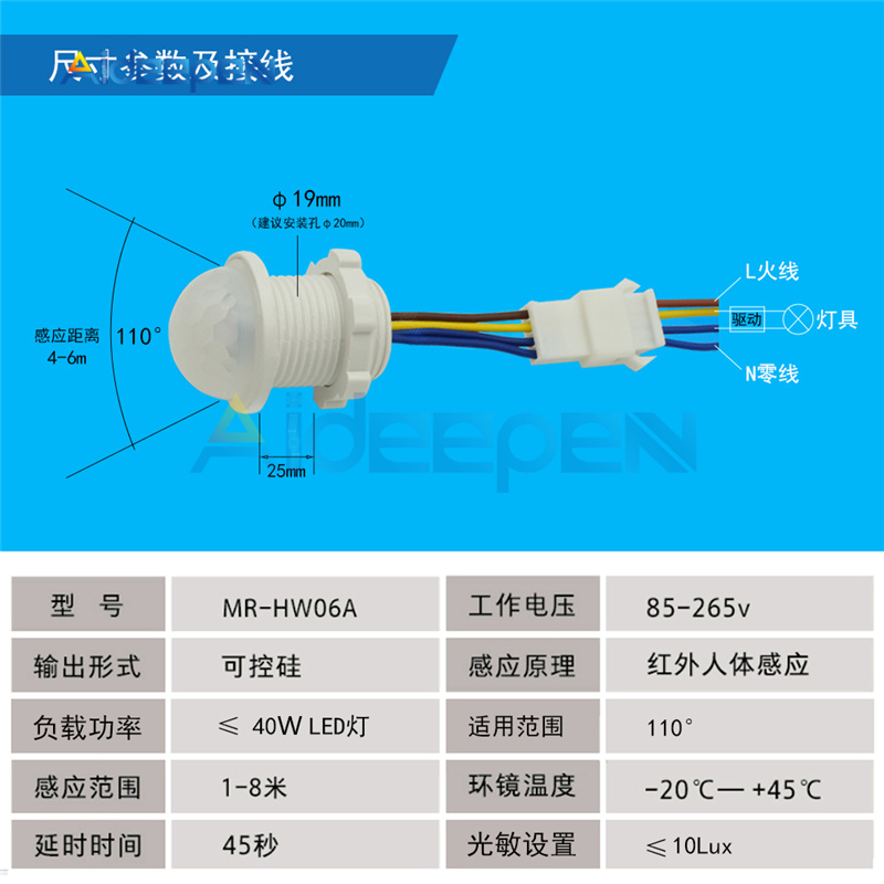 Infrared Probe LED Body Sensor Switch AC 220V 100W Body Motion Induction Switch Automatic LED Light Lamp Controller Switch