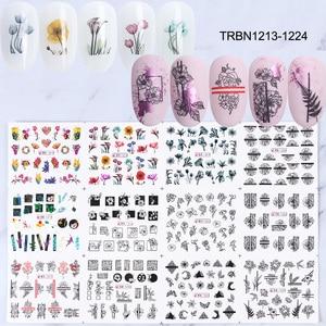 Image 2 - 36 個ネイルステッカーセット混合花幾何セクシーガールネイルアート水転写デカール花入れ墨スライダーマニキュア TR974