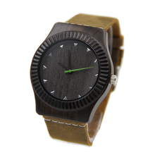 men japan movement Fashion Bamboo black Wood Watch with Genuine Leather Watchband For man Gifts