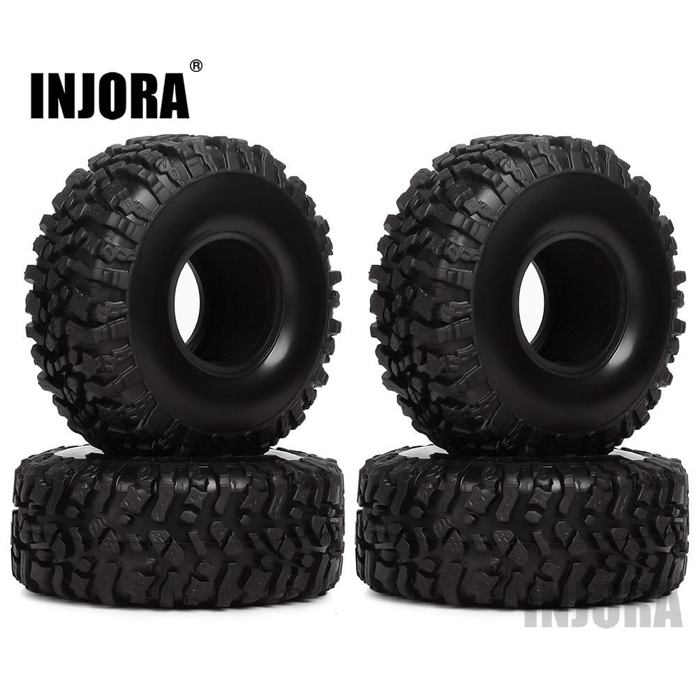 INJORA 4PCS 120*45mm 1.9 Rubber Tires Wheel Tyre For 1/10 RC Crawler Traxxas TRX4 Axial SCX10 90046 AX103007