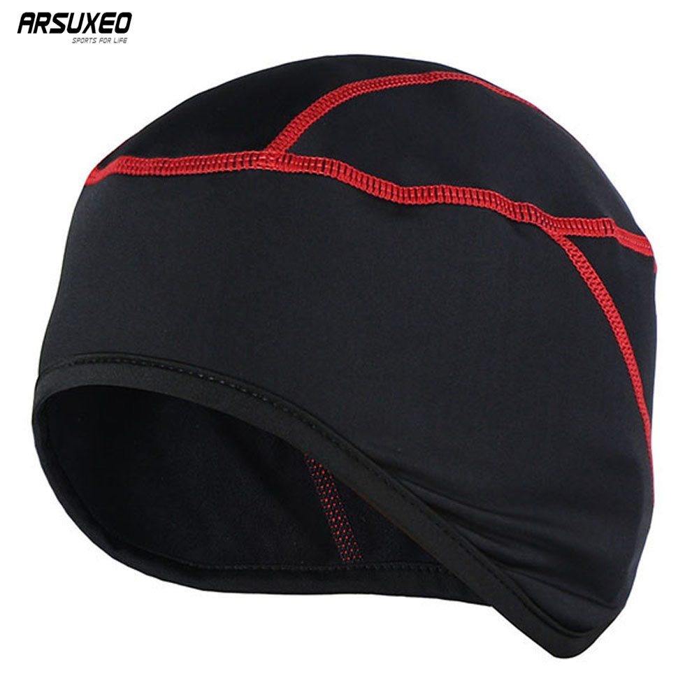 ARSUXEO Winter Warm Up Fleece Cycling Caps MTB Bike Bicycle Hats Sports Running Caps PT01