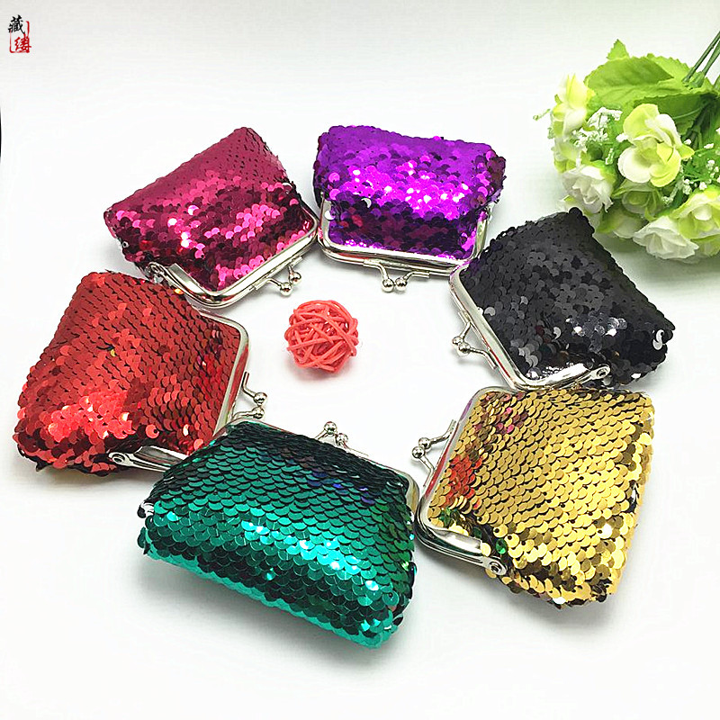 2018 Novelty Women Lady Sequins Small Wallet Change Color Hasp Purse Clutch Bag Baby Girls Cute Snacks Coin Purse Key Pouch