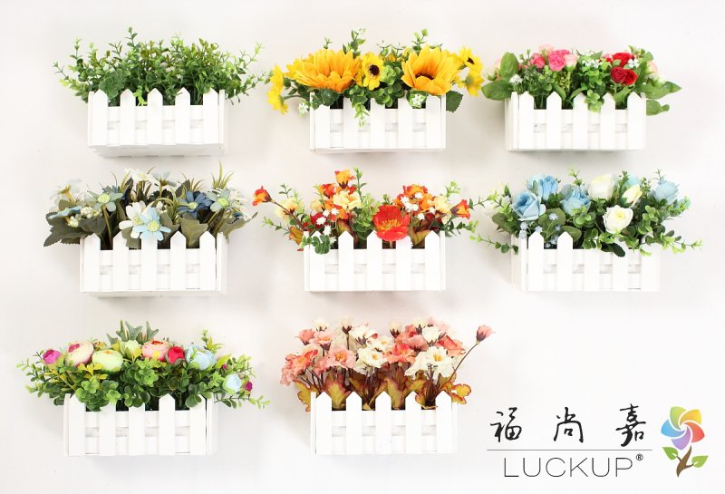 1 Set High Quality Artificial Flower Arrangement Wooden Fence Vase with flowers Home Wedding Party Decoration Birthday Gift F468