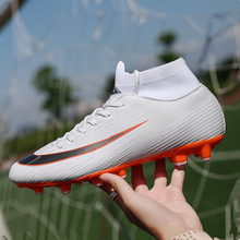 1bf980e39650 Men Football Boots Soccer Cleats Children Long Spikes TF Spikes Ankle High  Top Sneakers Soft Indoor