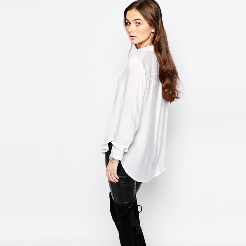 f5c25891f9d 2017 Nuevas Mujeres de la Camisa Blanca de Manga Larga Camisetas Mujer  Blusas Blusas Camisa Casual Mujeres Tops Hendidura Lateral Da Vuelta Abajo  Blusa de ...