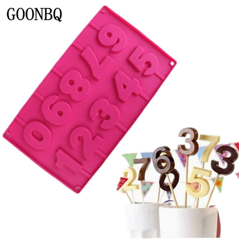 GOONBQ 1 pc  0-9 Number Chocolate Mold silicone 3D Handmade Pop Sucker Sticks Lolly Candy Chocolate Lollipop Mold