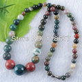 Free shipping Natural Indian agate  6~12mm Round Graduated Beads Necklaces Jewelry 17'' IF1043