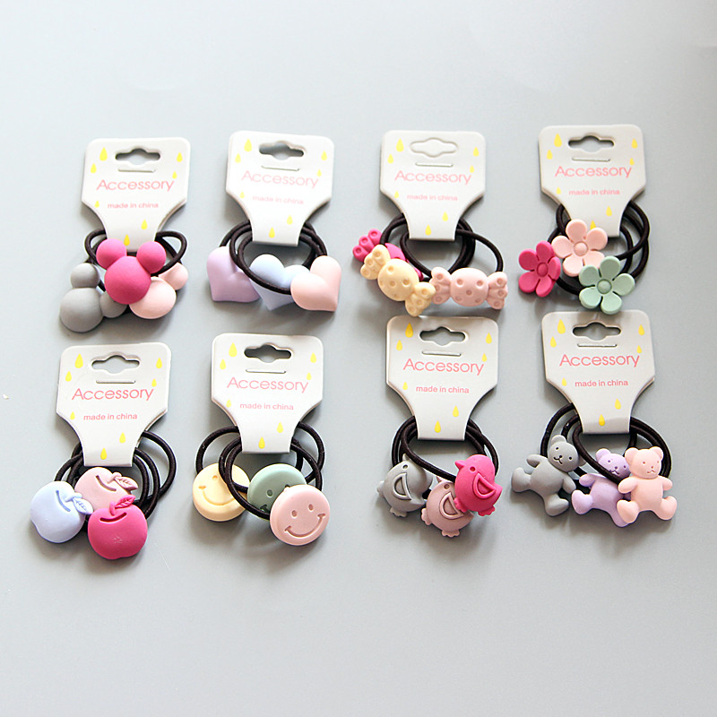 12pcs Girls Elastics Bands Creative Floral Apple Smiley Face Princess   Headwear   Kids Baby Children Ropes Hair Accessories Q8
