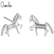 925 Sterling Wholesale Silver 3D Horse Stud Earring Fashion Animal Ear Jewelry For Women Brincos Luxury Wedding Accessories Gift