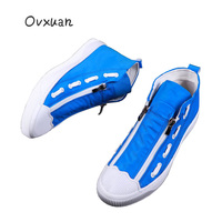OVXUAN 2019 Shell Toe Shuttle Shoelace Stripe High Top Sneakers Men Casual Loafers Male Luxury Street Walking Canvas Flats Shoes