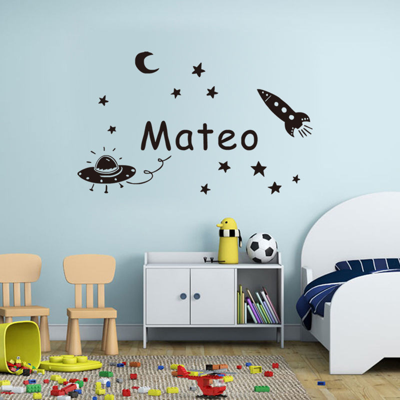 Space Planet Wall Sticker Personalized Name Kids Wall Decal Vinyl  Decorative Baby Wall Decals Custom Gift ...