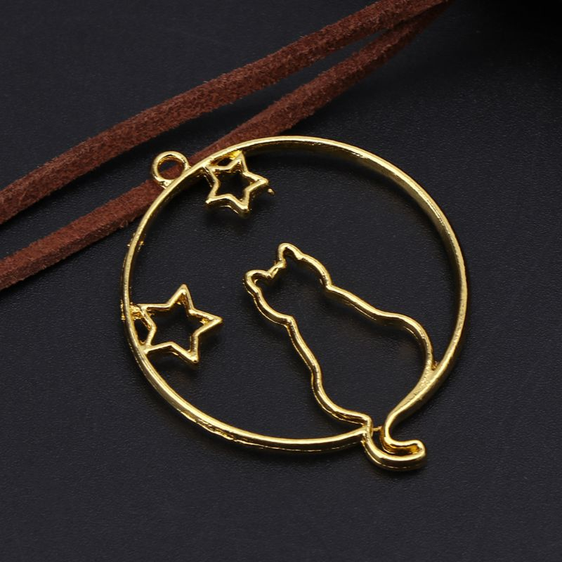 6 Pcs/Set Metal Frame DIY Jewelry Necklace Pendant Gold Kitten Cat Cute Hollow Frames Resin Tools Accessories Handmade Decor