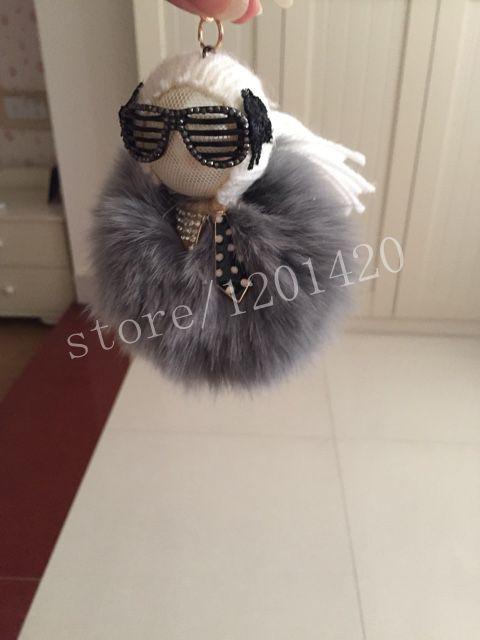 Белые волосы и кролик карл кукла пом куклы монстр мультфильм очки с большим лисий мех мяч автомобиль сумка шарм брелки