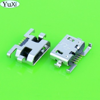 YuXi 1pcs Micro USB 5pin Reverse insertion flat without curling side Female Connector For Mobile Phone Mini USB Jack image