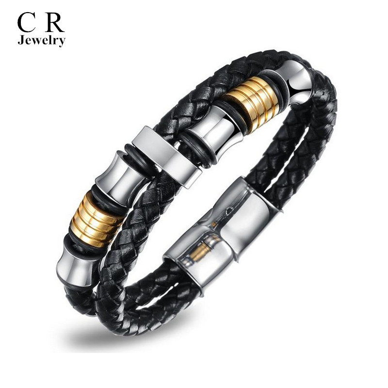 Mens Boys Black Leather Braided Wristband Bracelets Bangle Stainless Steel Clasp style 4 Jewelry