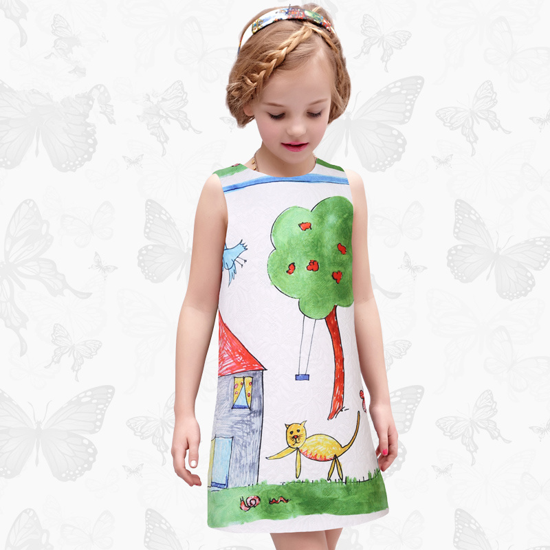 W.L.Monsoon Graffiti Girl dress Thicken Cartoon printing child Dress summer Children's wear Princess dress