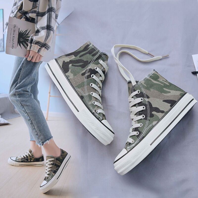 Female Casual Shoes Spring Summer New Brand Fashion High-top Camouflage Women Shoes Basket Femme Tenis Feminino