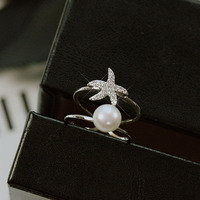 Trendy Double round Pearl Ring Small Starfish AAA Cubic Zirconia Open Little finger ring Women Jewelry Office Lady Style