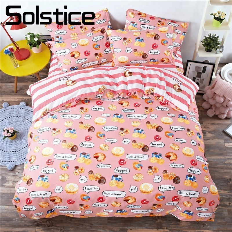 Solstice Home Textile Bedding Set Cartoon Fun Stripe Child Duvet Cover Pillowcase Bed Sheet Twin Full Queen King Size Bedclothes