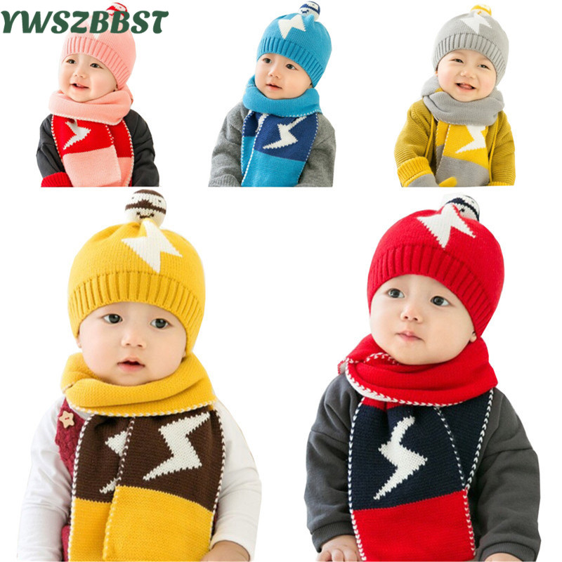 2pcs/lot Baby Winter Hat Scarf Baby Winter Cap Child Warm Scarf for Boys Kids Beanie Hats Scarf for Girls