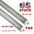 Stock In US + 8 feet led 8ft single pin t8 FA8 Single Pin LED Tube Lights 48W 4800Lm LED Fluorescent Tube Lamps 85-265V