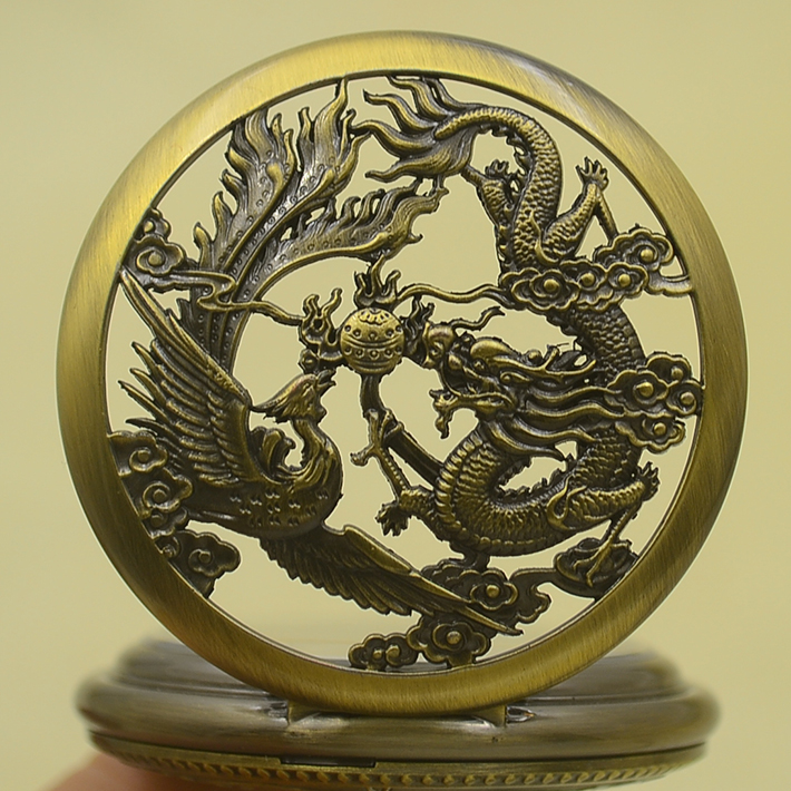 Wholesale Mechanical Hand Wind Pocket Watch Necklace Vintage Chinese Flying Dragon Phoenix Pendant Bronze Cable Gift Watches chinese palace pure bronze copper auspicious dragon phoenix pot bottle vase pair