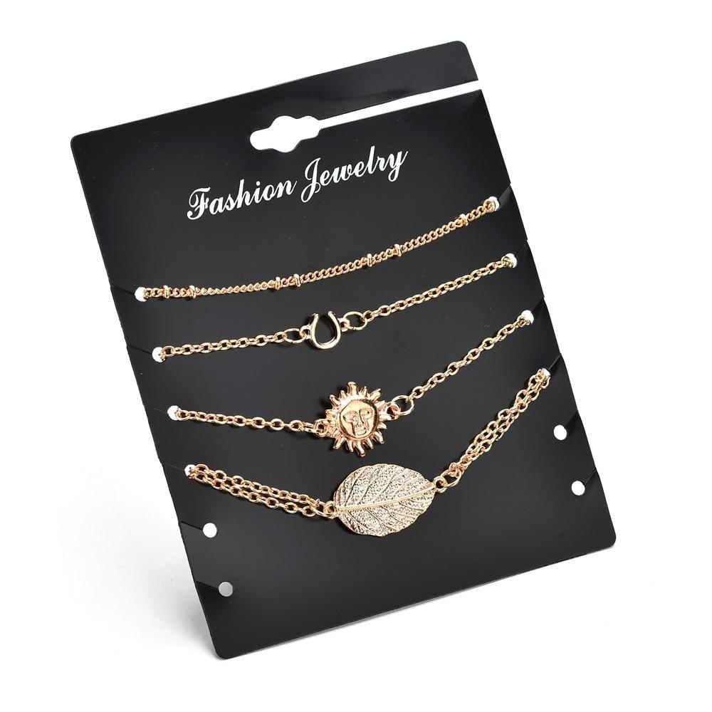 Buy Cheap 2018 Fashionable Long Chain Bracelet Leaf Sun Letter U 4 Piece Bracelet Combination Set Summer Beach Woman's Jewelry Relieving Rheumatism