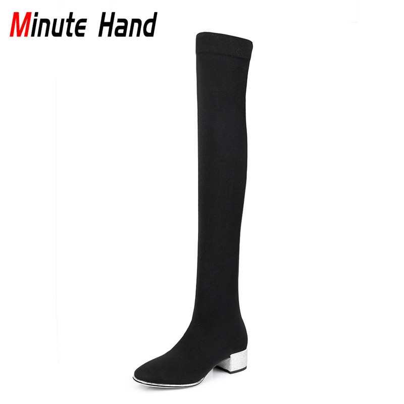 Minute Hand 2018 New Fashion Women Black Thigh High Boots Stretch Stockings Thick Heels Crystal Bling Elegant Shoes Big Size 43 women ultrathin lace top sheer thigh high silk stockings fashion style new gh