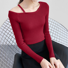 4 Colors Off Shoulder Knitted Crop Sweater Autumn Korean Simple Slim Pullover Women All-match Chic Sexy Ladies Sweaters Elegant
