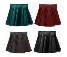 2019  4 Colors Sexy Women Slim PU Skirt High Waist Short Mini Skirt Pleated Party Faux Leather Skirts XS S M L