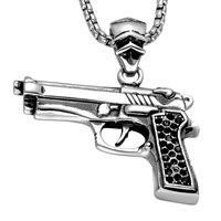 HIP Classic CSGO Automatische Pistol Ketting Zilver Kleur Rvs Black Crystal Gun Hangers Kettingen voor Mannen Sieraden